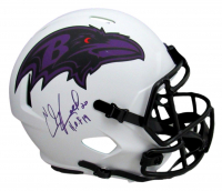 "Ed Reed Signed Ravens Full-Size Lunar Eclipse Alternate Speed Helmet Inscribed ""H.O.F 19"" (Beckett Hologram) at PristineAuction.com"