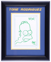 "Tone Rodriguez Signed ""The Simpsons"" 13.5x16.5 Custom Framed Hand-Drawn Sketch Inscribed ""D'Oh!"" (JSA Hologram) (See Description) at PristineAuction.com"