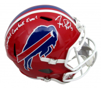 "Frank Reich Signed Bills Full-Size Speed Helmet Inscribed ""Greatest Comeback Ever!"" (JSA COA) at PristineAuction.com"