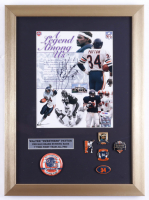 """Walter Payton Signed Bears 14x19 Custom Framed Display with Super Bowl XX Pin & Set of (5) Commemorative Pins Inscribed """"Sweetness 16,726"""" (PSA LOA) (See Description) at PristineAuction.com"""
