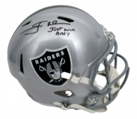 """Jon Gruden Signed Raiders Full-Size Speed Helmet Inscribed """"Just Win Baby"""" (JSA COA) at PristineAuction.com"""
