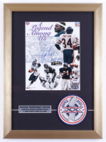 Walter Payton Signed Bears 14x19 Custom Framed Display with Official Super Bowl XX Cloth Patch (PSA LOA) (See Description) at PristineAuction.com