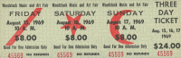 Woodstock Authentic Three Day Unused Ticket from August 15, 16, 17 1969 at PristineAuction.com