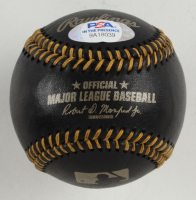 """Dwight """"Doc"""" Gooden Signed OML Black Leather Baseball Inscribed """"85 MLB Pitching Triple Crown"""" (PSA COA) at PristineAuction.com"""