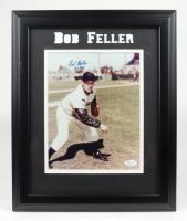 "Bob Feller Signed 13.5x16.5 Custom Framed Photo Display Inscribed ""HOF 62"" (JSA COA) (See Description) at PristineAuction.com"