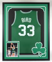 Larry Bird Signed Celtics 34x42 Custom Framed Jersey Display (PSA Hologram & Bird Hologram) (See Description) at PristineAuction.com