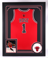 Derrick Rose Signed 34x42 Custom Framed Jersey (PSA LOA) at PristineAuction.com