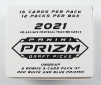 2021 Panini Prizm Draft Picks Collegiate Football Fat Pack Cello Box with (12) Packs at PristineAuction.com
