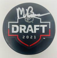 Matty Beniers Signed 2021 NHL Draft Logo Hockey Puck (Fanatics Hologram) at PristineAuction.com