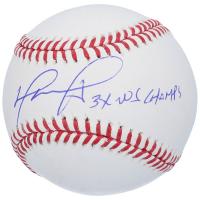"David Ortiz Signed OML Baseball Inscribed ""3x WS Champs"" (MLB Hologram, Ortiz Hologram & Fanatics Hologram) at PristineAuction.com"
