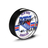 """Alexis Lafreniere Signed Rangers Acrylic Hockey Puck Inscribed """"#1 Pick"""" (UDA COA) at PristineAuction.com"""
