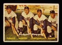 1957 Topps #400 Dodgers Sluggers Carl Furillo / Gil Hodges / Roy Campanella / Duke Snider at PristineAuction.com