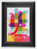 """""""Yeasayer"""" Band Signed 19x25 Custom Framed Poster Display Signed by (5) with Chris Keating, Anand Wilder, Jason Trammel, Ahmed Gallab (JSA COA) at PristineAuction.com"""