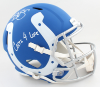 """Reggie Wayne Signed Colts Full-Size AMP Alternate Speed Helmet Inscribed """"Colts 4 Life"""" (Beckett COA) at PristineAuction.com"""
