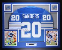 Barry Sanders Signed 35x43 Custom Framed Jersey Display (JSA COA) at PristineAuction.com