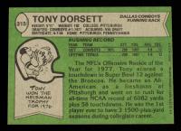 Tony Dorsett Signed 1978 Topps #315 RC at PristineAuction.com