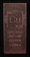 One Kilo .999 Fine Copper Periodic Table Design Bullion Bar at PristineAuction.com