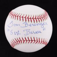 """Tom Berenger Signed OML Baseball Inscribed """"Ssgt Barnes"""" (JSA COA) at PristineAuction.com"""