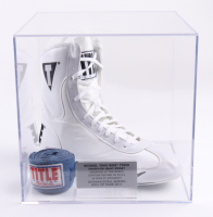 """""""Iron"""" Mike Tyson Signed Title Boxing Shoe with Display Case (PSA COA) (See Description) at PristineAuction.com"""