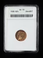1928 $2.50 Indian Head Quarter Eagle Gold Coin (ANACS AU55) at PristineAuction.com