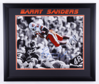Barry Sanders Signed Oklahoma State Cowboys 22.5x26.5 Custom Framed Photo Display (JSA COA & Schwartz Hologram) (See Description) at PristineAuction.com