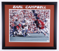 Earl Campbell Signed Texas Longhorns 22.5x26.5 Custom Framed Photo Display (JSA COA) (See Description) at PristineAuction.com