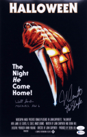 """Nick Castle & Will Sandin Signed """"Halloween"""" 11x17 Movie Poster Print Inscribed """"Michael Age 6"""" & """"The Shape"""" (JSA COA & Beckett COA) (See Description) at PristineAuction.com"""