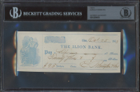 Eliphalet Remington Signed 1853 Bank Check (BGS Encapsulated) at PristineAuction.com