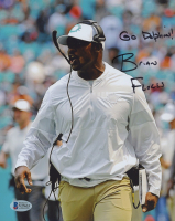 """Brian Flores Signed Dolphins 8x10 Photo Inscribed """"Go Dolphins!"""" (Beckett COA) at PristineAuction.com"""
