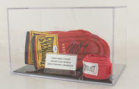 Mike Tyson Signed Pair of Everlast Boxing Gloves with Hand Wrap & Display Case (PSA COA) at PristineAuction.com