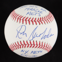 """Ron Swoboda Signed OML Baseball Inscribed """".400 W.S. B.A"""" """"Miracle Mets"""" and """"N.Y. Mets 65-70"""" (JSA COA) at PristineAuction.com"""