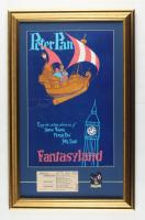 "Disneyland Fantasyland's ""Peter Pan"" 15.5x24.5 Custom Framed Vintage Print Display with Vintage Disneyland Peter Pan Pin & Vintage Ticket at PristineAuction.com"