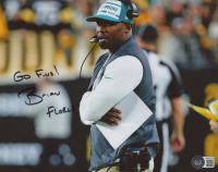 """Brian Flores Signed Dolphins 8x10 Photo Inscribed """"Go Fins!"""" (Beckett COA) at PristineAuction.com"""