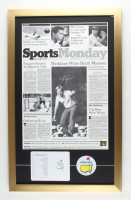 Jack Nicklaus Signed 18x29 Custom Framed Print Display with Official Augusta National Score Card & Masters Patch (Steiner COA & Nicklaus Hologram) at PristineAuction.com