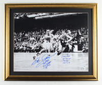 Bob Cousy & Jerry West Signed 21x24.5 Custom Framed Photo Display with (6) Inscriptions (Beckett Hologram & PSA COA) at PristineAuction.com