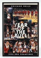 "Bulls 1996 NBA Champions ""Year of the Bull"" 25x37 Custom Framed Poster Team-Signed by (18) with Michael Jordan, Scottie Pippen, Toni Kukoc, Steve Kerr (JSA ALOA) (See Description) at PristineAuction.com"