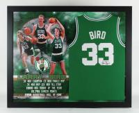 Larry Bird Signed Celtics 35.5x43.5 Custom Framed Jersey Display (JSA COA) at PristineAuction.com