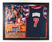 Larry Bird Signed Team USA 35.5x43.5 Custom Framed Jersey Display (JSA COA) at PristineAuction.com