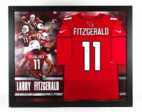 Larry Fitzgerald Signed Cardinals 35.5x43.5 Custom Framed Jersey Display (JSA COA) at PristineAuction.com