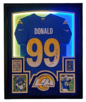 Aaron Donald Signed Rams 35x42 Custom Framed Jersey Display with 2020 Select #133, 2020 Panini Mosaic Mosaic Green #118 & LED Lights (JSA Hologram) at PristineAuction.com