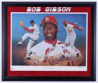 Bob Gibson Signed Cardinals 23x27 Custom Framed LE Lithograph (JSA COA) (See Description) at PristineAuction.com