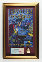 """Disneyland's """"Pirates of the Caribbean"""" 15.5x24.5 Custom Framed Print Display with Ticket Booklet & Pirates of the Caribbean Pocket Watch at PristineAuction.com"""