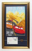 """Disneyland Cars Land """"Radiator Springs Racers"""" 15.5x26.5 Custom Framed Print Display with Grand Opening Day Envelope & Pin at PristineAuction.com"""