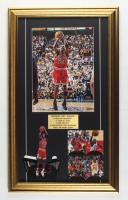 Michael Jordan Bulls 15.5x26.5 Custom Framed Photo Display with Uncut Upper Deck Sheet of 4 Jordan Cards & Upper Deck Stand-Up at PristineAuction.com
