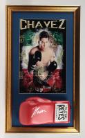Julio Cesar Chavez Signed 17x29 Custom Framed Official Cleto Reyes Boxing Glove Display (PSA COA) at PristineAuction.com