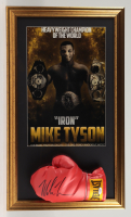 Mike Tyson Signed 17x29 Custom Framed Boxing Glove Display (PSA COA) at PristineAuction.com