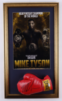 Mike Tyson Signed 17x29 Custom Framed Boxing Glove Display (PSA Hologram) at PristineAuction.com