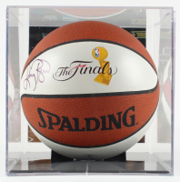 Larry Bird Signed NBA Finals Logo Basketball with Display Case (PSA COA) (See Description) at PristineAuction.com