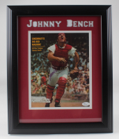 Johnny Bench Signed Reds 13.5x16.5 Framed Photo (JSA COA) (See Description) at PristineAuction.com