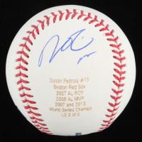 Dustin Pedroia Signed LE OML Laser Engraved Baseball (JSA Hologram) at PristineAuction.com